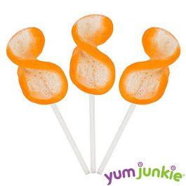 Curly Cutes Petite Crystal Ribbon Pops – 20 Piece Jar (Orange)
