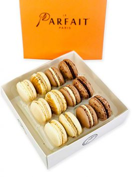 Chocolate Lovers Macaron Box by Award Winning French Bakery Le Parfait Paris. Includes 4 Flavors, All Natural Ingredients, Guaranteed Fresh and More!