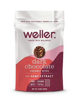 Weller Dark Chocolate Flavor Coconut Bites, Broad-Spectrum Hemp Extract Snack, Natural Support for Pain, Anxiety, and Depression, Gluten-Free 3.5oz Bag