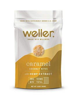 Weller Caramel Flavor Coconut Bites, Broad-Spectrum Hemp Extract Snack, Natural Support for Pain, Anxiety, and Depression, Gluten-Free 3.5oz Bag