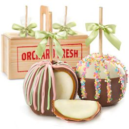 Sweet Summer Milk and White Chocolate Covered Caramel Apples Gift Crate, Insulated Shipper with Ice
