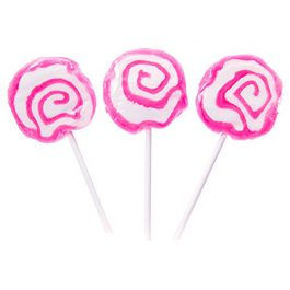 Hypno Pops Petite Swirl Lollipops – 100 Piece Bag (Pink)