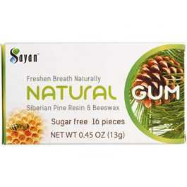 Sayan Sugar Free All Natural Gum 6 Packs (96 Pieces)| Siberian Pine Tree Resin and Beeswax Chewing Gum for Fresh Breath | Vegetarian, Non-GMO, No Sugar, Gluten Free, Aspartame Free | No Preservatives