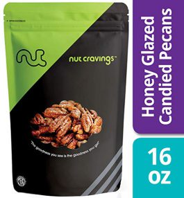 Nut Cravings – Fresh Honey Glazed Candied Pecans (1 Pound) – In Resealable Bag – 16 Ounce