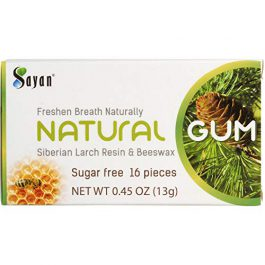 Sayan Sugar Free All Natural Gum 6 Packs (96 Pieces)| Siberian Larch Tree Resin and Beeswax Chewing Gum for Fresh Breath | Vegetarian, Non-GMO, No Sugar, Gluten Free, Aspartame Free | No Preservatives