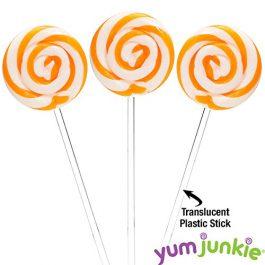 Swipple Pops Petite Swirl Ripple Lollipops – 60-Piece Tub (Orange)
