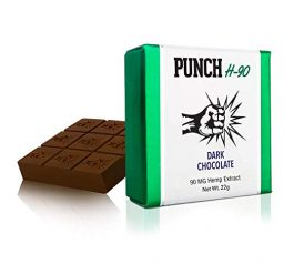 PunchBar H-90 Organic Hemp Dark Chocolate 90MG – Health Edibles for Anxiety, Pain, Stress, and Sleep Aid – No THC – 3 Pack