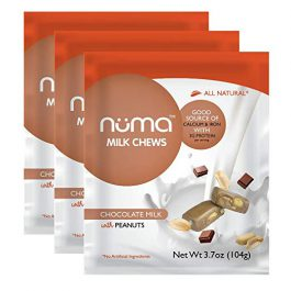 Healthy Chocolate Milk Candy – Low Calorie, Low Sugar, All Natural Chewy Snack with Peanuts, 3g Protein per Serving, Gluten Free – 3 Bags