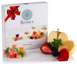 Marmara Authentic Mini Turkish Delight with Mix Fruits, Sweet Confectionery Gourmet Gift Box Candy Dessert Large 8.8 oz