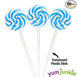 Swipple Pops Petite Swirl Ripple Lollipops – 60-Piece Tub (Blue)
