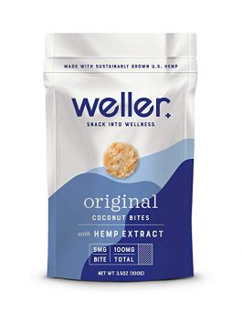 Weller Original Flavor Coconut Bites, Broad Spectrum Hemp Extract Snack, Natural Support for Pain, Anxiety, and Depression, Gluten-Free 3.5oz Bag
