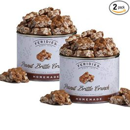 FERIDIES Homemade Peanut Brittle Crunch – 2 Pack 18oz Cans
