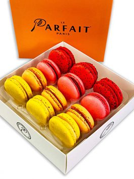French Macaron Fruit Box by Award Winning French Bakery Le Parfait Paris. Includes 4 Flavors, All Natural Ingredients, Guaranteed Fresh and More!