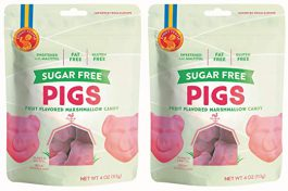 Candy People Sugar-Free Swedish Pigs Strawberry Flavored Marshmallow Candy 4 Ounce (Pack of 2) – Fat-Free and Gluten-Free