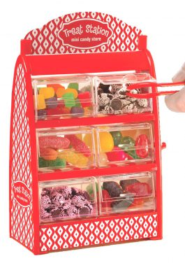 Mini Candy Drawer Dispenser – Holds Gumball Jellybean Small Candy with 6 Drawers Tongs And Treat Bags