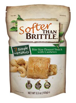 Softer Than Brittle Bite Size Peanut Snack with Cashews 5.5 oz (ounce)