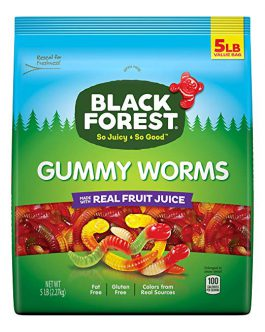 Black Forest Gummy Worms Candy, 5 Pound Bulk Resealable Candy Bag