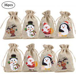 Christmas Gift Bags with Drawstring 4Inch Burlap Candy Christmas Pattern Treat Bags for Presents