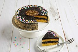 Bake Me A Wish Golden Fudge Celebration Cake w/ Confetti Sprinkles & Cake Crumbs – Happy Birthday