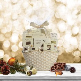 Godiva Chocolatier Gift Basket –Chocolate Assortment For 2019 Christmas Holiday Season – Improved Product Protective Packaging, Damage Free Guarantee
