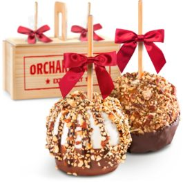 Nuts for Pecans and Almonds Chocolate Dipped Caramel Apples in Wooden Gift Crate